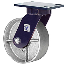 "76 Series Swivel Caster - 8"" x 3"" Cast Iron Wheel - Straight Bearing - 3,000 lb. Cap."