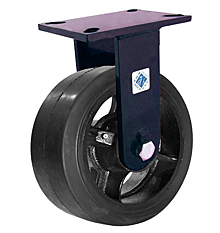"76 Series Rigid Caster - 8"" x 3"" Rubber on Iron Wheel - Straight Bearing - 840 lb. Cap."