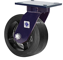"76 Series Swivel Caster - 8"" x 3"" Rubber on Iron Wheel - Straight Bearing - 840 lb. Cap."