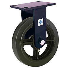 "76 Series Rigid Caster with 6"" x 2-1/2"" Rubber on Iron Wheel and 810 lb. Capacity"