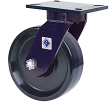 "76 Series Swivel Caster with 6"" x 3"" Solid Urethane Wheel and 2,000 lb. Capacity"