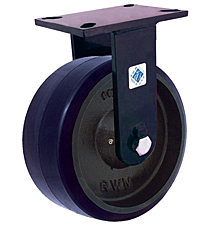 "76 Series Rigid Caster - 8"" x 3"" Urethane on Iron Wheel - Straight Bearing - 2,500 lb. Cap."