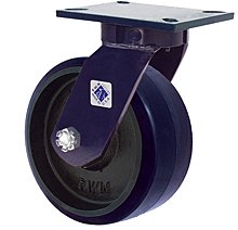 "76 Series Swivel Caster with 8"" x 3"" Urethane on Iron Wheel and 2,500 lb. Capacity"