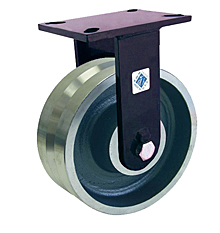 "76 Series Rigid Caster - 8"" x 3"" V-Groove Forged Steel Wheel - Tapered  Bearing - 6,000 lb. Cap."