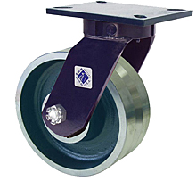 "76 Series Swivel Caster - 8"" x 3"" V-Groove Iron Wheel - Straight Bearing - 5,000 lb. Cap."