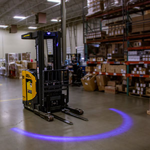 Forklift Approach Warning Light - Blue LED Arc Beam