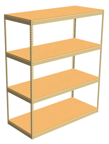 "Double Rivet Shelving, 4 Shelf, 60""W x 36""D x 84""H, Starter, w/Decks, 1200 lbs. Shelf Cap."