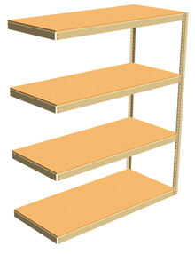 "Double Rivet Shelving, 4 Shelf, 60""W x 36""D x 84""H, Adder, w/Decks, 1200 lbs. Shelf Cap."