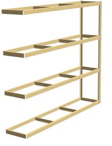"Double Rivet Shelving, 4 Shelf, 96""W x 36""D x 84""H, Adder, No Decks, 620 lbs. Shelf Cap."
