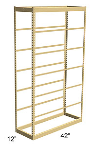 Single Rivet Shelving, Starter, 42w x 12d x 84h, 7 Shelves