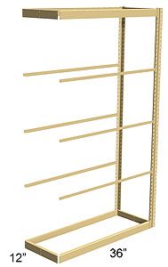 Single Rivet Shelving, Adder, 36w x 12d x 84h, 5 shelves
