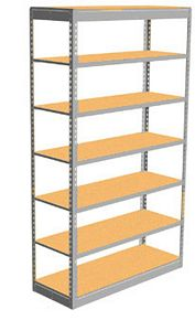 "Low Profile Rivet Shelving, 48""w x 18""d x 84""h, 250Lbs. Cap., 7 Shelves - Starter - With Decking"