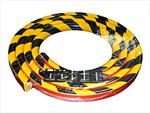 Flat Surface Bumper Guard - Half-Round, 1-9/16-in. x 16-ft. Roll, Self-Adhesive, Black & Yellow
