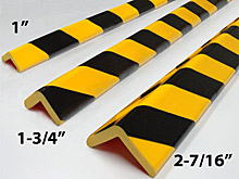 "Protective Corner Bumper Guard - 1"" x 1"" x 39-3/8"", Self-Adhesive, Black & Yellow"