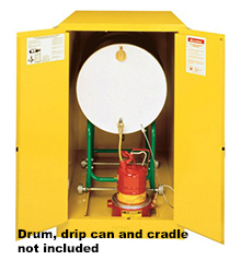 Horizontal Drum Cabinet - 2 door, self-close - Sure-Grip Handle, 1: 55-gal   drum