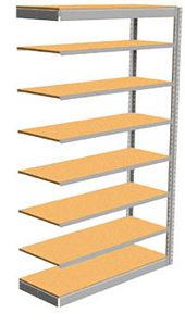 "Low Profile Rivet Shelving, 48""w x 18""d x 84""h, 250Lbs. Cap., 8 Shelves - Adder - With Decking"
