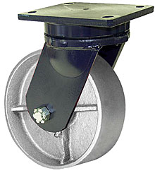 "95 Series Swivel Caster with 8"" x 3"" Cast Iron Wheel and 3,000 lb. Capacity"