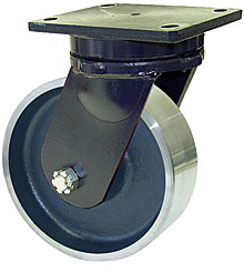 "95 Series Swivel Caster with 6"" x 2-1/2"" Forged Steel Wheel and 5,000 lb. Capacity"