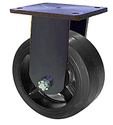 "95 Series Rigid Caster - 6"" x 3"" Rubber on Iron Wheel - 680 lb. Cap."