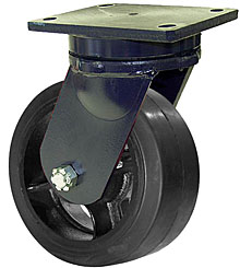 "95 Series Swivel Caster with 12"" x 5"" Rubber on Iron Wheel and 2,050 lb. Capacity"