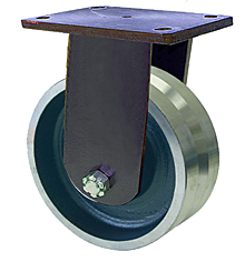 "95 Series Rigid Caster with 8"" x 3"" V-Groove Forged Steel Wheel and 6,000 lb. Capacity"