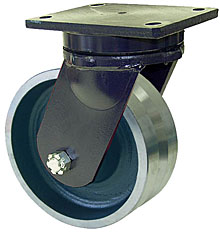 "95 Series Swivel Caster with 12"" x 3"" V-Groove Iron Wheel and 6,000 lb. Capacity"