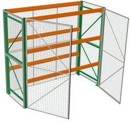 "Pallet Rack with Security Cage - 120""w x 36""d x 120""h, 3 Beam Levels w/ 6700 lb. cap."