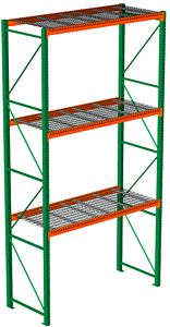 Pallet rack equipped with welded wire decks for water and air flow.