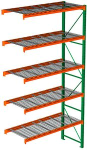 "Pallet Rack with Wire Decking - Adder, 5 Beam Levels - 96""w x 36""d x 192""h - 4000 Cap. Beams"