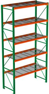 "Pallet Rack with Wire Decking - Starter, 5 Beam Levels - 96""w x 36""d x 192""h - 5080 Cap. Beams"