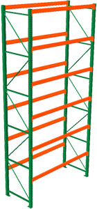 Pallet Rack Starter - 216h x 42d x 96w, 6 Beam Levels - 5080 Cap. Beams