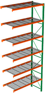 "Pallet Rack with Wire Decking - Adder with 6 Beam Levels - 96""w x 42""d x 240""h"