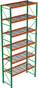 "Pallet Rack with Wire Decking - Starter with 6 Beam Levels - 120""w x 42""d x 240""h"