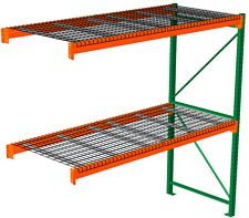 "Pallet Rack with Wire Decking - Adder with 2 Beam Levels - 48""w x 48""d x 96""h"