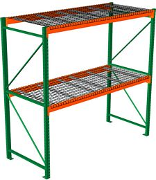 "Pallet Rack with Wire Decking - Starter with 2 Beam Levels - 96""w x 48""d x 96""h"