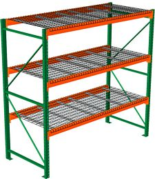 "Pallet Rack with Wire Decking - Starter, 3 Beam Levels - 96""w x 36""d x 120""h - 4000 Cap. Beams"