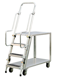 Order Picking Ladder Carts Aluminum Ladder Carts