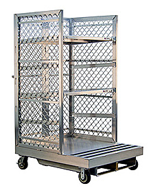 "Aluminum Cart for Order Pickers w/ 2 Shelves  - Toyota Type, 40""W x 76""H x 48""L"