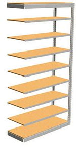 "Low Profile Rivet Shelving, 36""w x 12""d x 84""h, 350Lbs. Cap., 9 Shelves - Adder - With Decking"