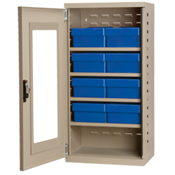"Mini Quick-View Security Cabinet - 19-1/4""x13-1/4""x38"" - 8 Bins"