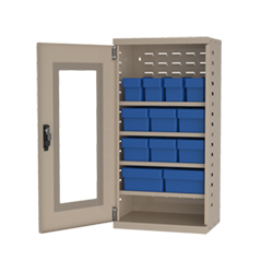 "Mini Quick-View Security Cabinet - 19-1/4""x13-1/4""x38"" - 12 Assorted Bins"