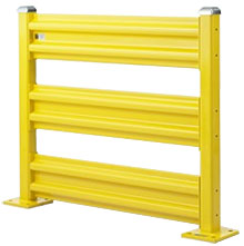 Steel Guard Rail - Triple High Starter - 3 ft. W at post centers x 42 in. H