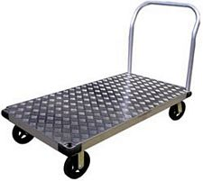 "Aluminum Platform Truck w/handle - rubber mold-on wheels - 30"" x 60"" x 9.25"""