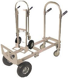 Aluminum Convertible Handtruck with Semi-Pneumatic Wheels