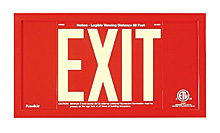 "EXIT Sign, 6"" Letters - UL924 ETL-Listed, Photoluminescent, Red Aluminum Panel, Red Frame, (2) Self-Adhesive Arrows"