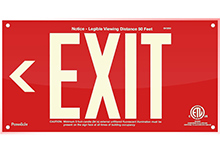 "EXIT Sign, Left Arrow, 6"" Letters - UL924 ETL-Listed, Photoluminescent, Red Acrylic, Unframed"
