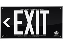 "EXIT Sign, Left Arrow, 6"" Letters - UL924 ETL-Listed, Photoluminescent, Black Acrylic, Unframed"