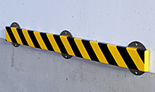 "Flat Surface Bumper Guard - Flat, 2-7/8"" x 13/16"" x 39-3/8"" with Steel Support, Black & Yellow"