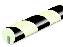 Round Edge Protector, Slide-on - 1-9/16-in. x 39-3/8-in., Non-Adhesive, Black & Photoluminescent
