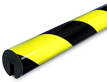 Round Edge Protector, Slide-on - 1-9/16-in. x 39-3/8-in., Non-Adhesive, Black & Fluorescent/Photoluminescent